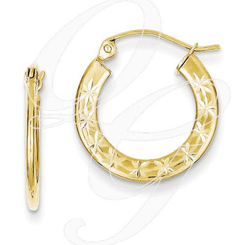 10K 1.3x17mm Diamond Cut Hoop Earrings