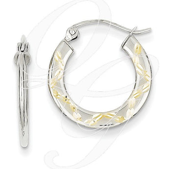 10K White Gold & Yellow Rhodium Diamond Cut Hoop Earrings