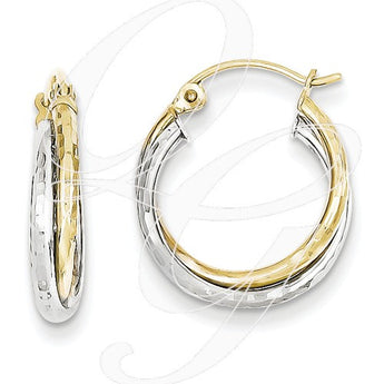 10K Yellow & White Gold Textured Twist Hoop Earrings