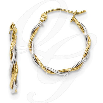 10k Two-Tone Polished1.8mm Twisted Hoop Earrings