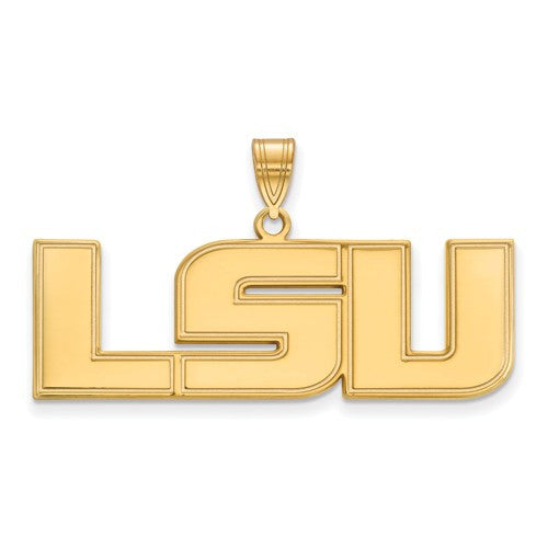 Sterling Silver w/GP LogoArt Louisiana State University Large Pendant