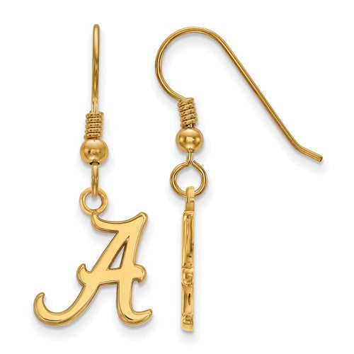 Sterling Silver w/GP LogoArt University of Alabama Small Dangle Earrings