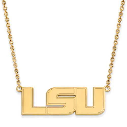 Sterling Silver w/GP LogoArt Louisiana State U Large Pendant w/Necklace