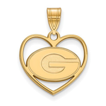 University of Georgia Sterling Silver w/GP LogoArt University of Georgia Pendant in Heart