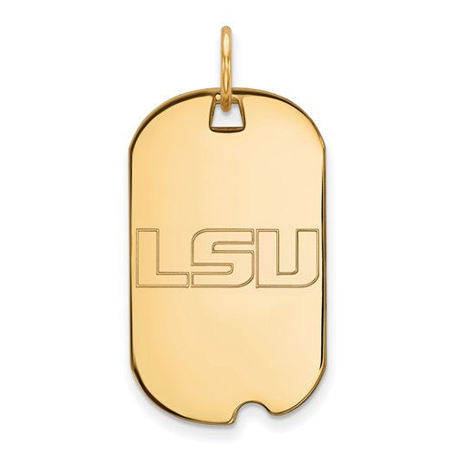 Sterling Silver w/GP LogoArt Louisiana State University Small Dog Tag