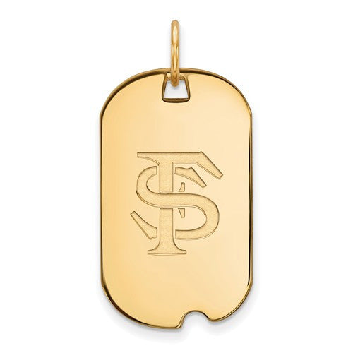 Sterling Silver w/GP LogoArt Florida State University Small Dog Tag