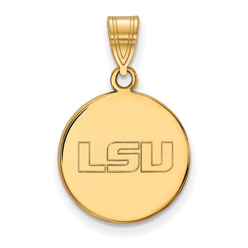 Sterling Silver w/GP LogoArt Louisiana State University Medium Disc Pendant
