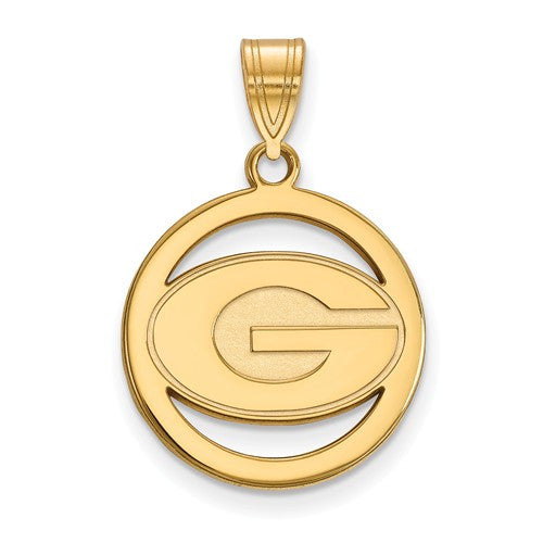 Sterling Silver w/GP LogoArt University of Georgia Sm Pendant in Circle
