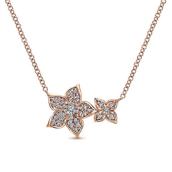 14k Pink Gold Floral Fashion Necklace