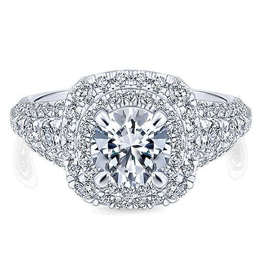 14k White Gold Rosette Semi-Mount Engagement Ring