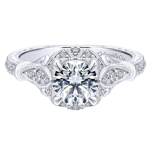 14k White Gold Empire Semi-Mount Engagement Ring