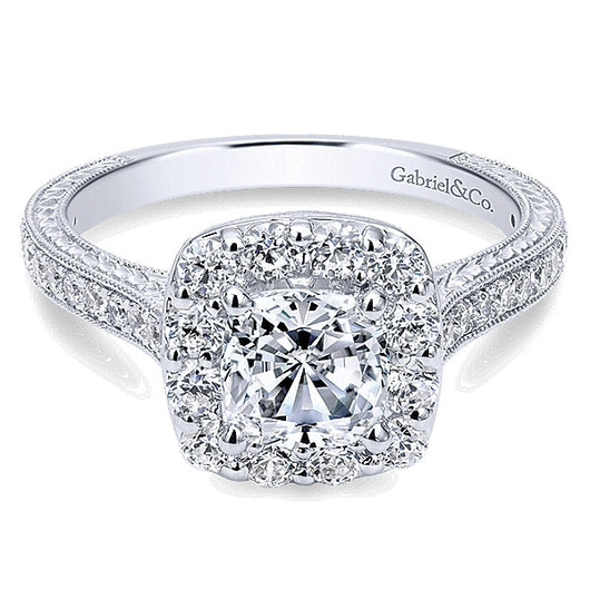 14k White Gold Victorian Semi-Mount Engagement Ring