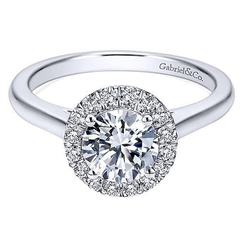 14k White Gold Contemporary Semi-Mount Engagement Ring