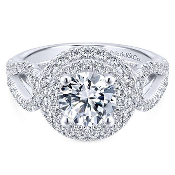 14k White Gold Round Double Halo Diamond Engagement Ring/ER12755R4W44JJ