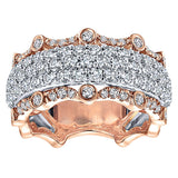 14k White/pink Gold Contemporary Fancy Anniversary Band
