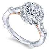 14k White/pink Gold Blush Semi-Mount Engagement Ring