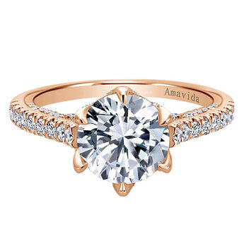 ER11640R6K83JJ 18k Rose Gold Round Halo Diamond Engagement Ring
