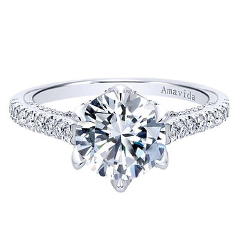 ER11640R6W83JJ 18k White Gold Round Straight Diamond Engagement Ring