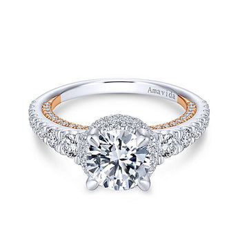 18k White/Rose Gold Round Double Halo Diamond Engagement Ring