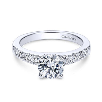 ER3950 / 14k White Gold Round Straight Diamond Engagement Ring