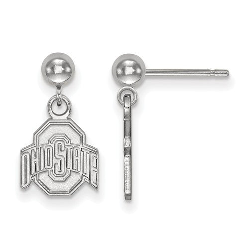 Sterling Silver LogoArt Ohio State University Earrings Dangle Ball