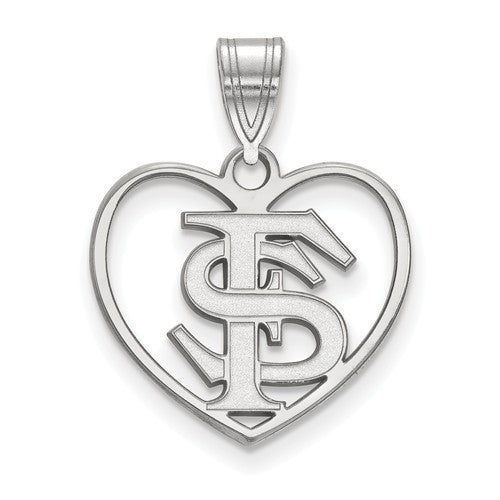 Sterling Silver LogoArt Florida State University Pendant in Heart