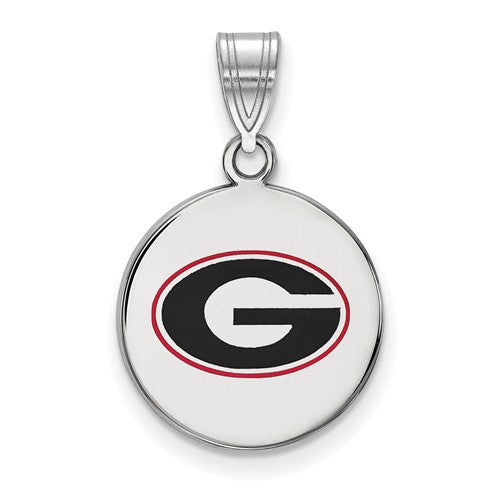 Sterling Silver LogoArt University of Georgia Medium Enamel Disc Pendant
