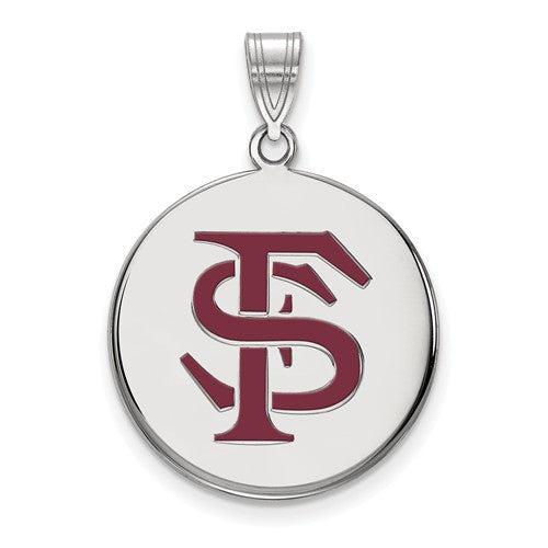 Sterling Silver LogoArt Florida State University Large Enamel Disc Pendant