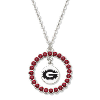 UNIV OF GEORGIA SPIRIT CRYSTAL WREATH LOGO NECKLACE