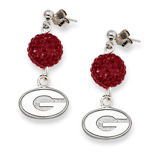 S/S UNIV OF GEORGIA CRYSTAL OVATION EARRINGS