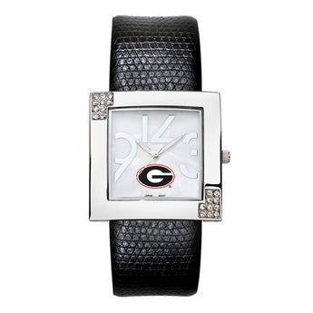 UNIV OF GEORGIA CHROME LADIES GLAMOUR WATCH LEATHER STRAP