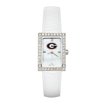 UNIV OF GEORGIA LADIES ALLURE WATCH WHITE LEATHER STRAP