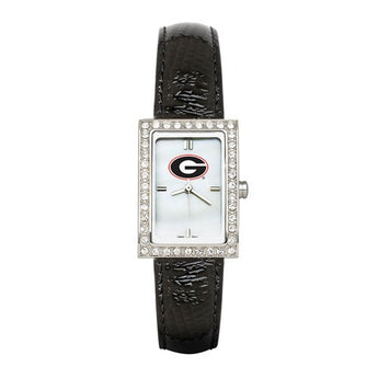 UNIV OF GEORGIA LADIES ALLURE WATCH BLACK LEATHER STRAP