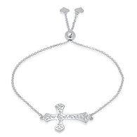 Ladies Sterling Silver Cross Bolo Bracelet/XBR-123-SS