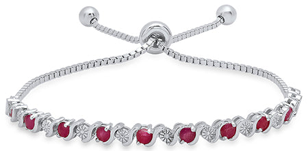 Ladies Sterling Silver Genuine Ruby/Diamond Accent Bolo Bracelet/XBR-119-R-SS