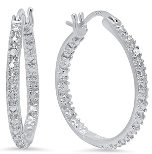 Ladies Sterling Silver 22MM Diamond Accent Hoop Earrings/XE-418-SS