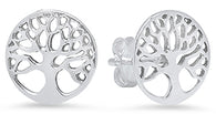 Ladies Sterling Silver Tree Of Life Stud Earrings/XE-421-SS