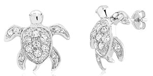 Sterling Silver CZ Turtle Earrings/XE-538-SS