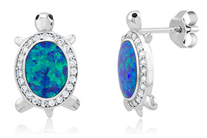Sterling Silver CZ/Created Blue Opal Earrings/ XE-540-SS
