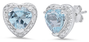 Ladies Sterling Silver Heart Blue Topaz/Diamond Earrings/XE-764-BT-SS