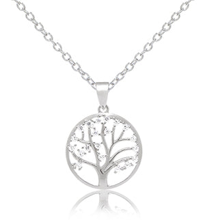 Ladies Sterling Silver CZ Tree Of Life Pendant With 18