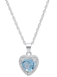 Ladies Sterling Silver Heart Blue Topaz/Diamond Necklace With 18