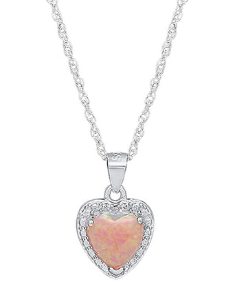 Ladies Sterling Silver 7MM Heart Lab Created Fire Opal/Diamond Necklace With 18
