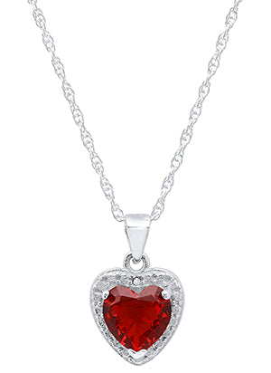 Ladies Sterling Silver Heart Lab Created Ruby/Diamond Pendant With 18