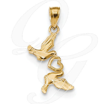 14k Diamond-Cut Doves W/Heart Pendant