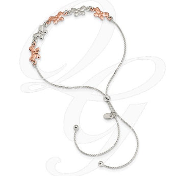 Sterling Silver W/Rose-Tone Butterfly Adjustable Bracelet
