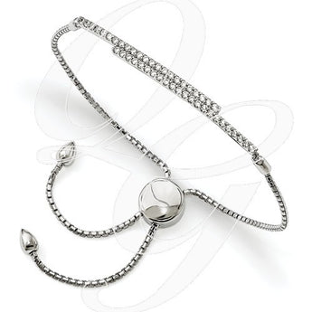 Sterling Silver CZ Brilliant Embers Adjustable Bracelet