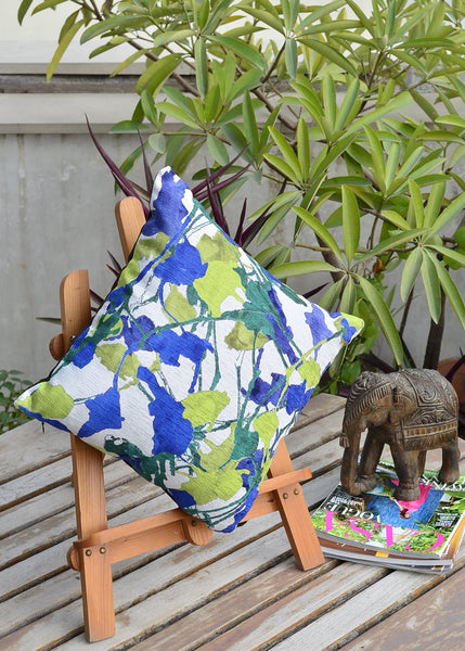Blue Green Floral Cushion Cover