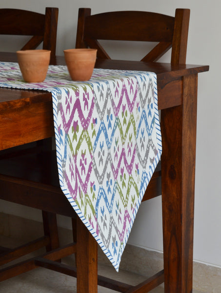 Hand Block Printed Ikat Print Table Runner