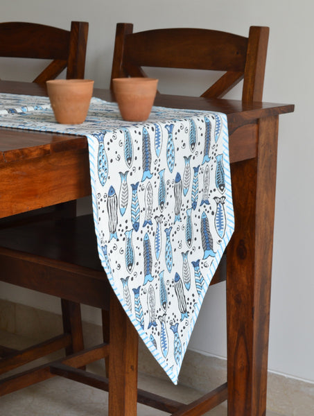 Hand Block Printed Fish Print Table Runner